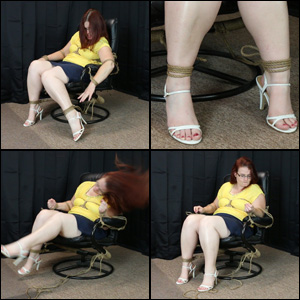 Scarlet Tied to a Chair in Strappy Sandals