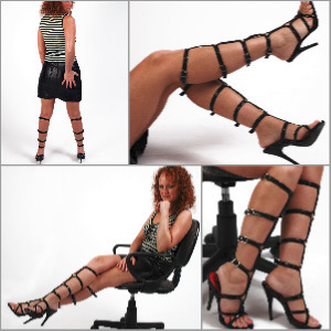 Picture Set: Michaela in Knee High Strappy Sandals