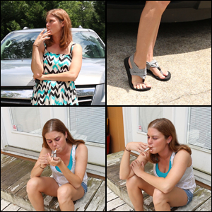 Kristen Smoking 2 Cigarettes in 2 Outfits #2