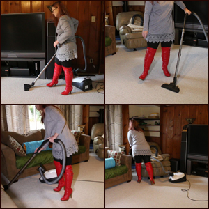 Vacuuming in Red OTK Boots