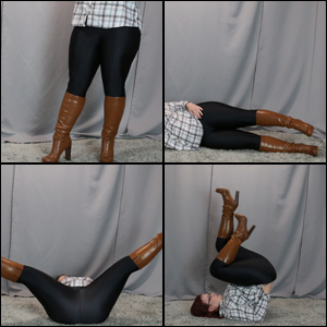 Various Exercises in Caramel Knee Boots & Spandex Pants