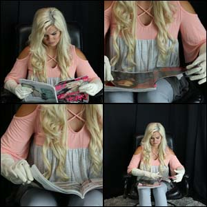 Riley Flipping through Magazine in Leather Gloves