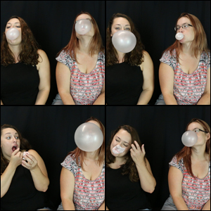 Jeanell & Scarlet Blowing Bubbles Together