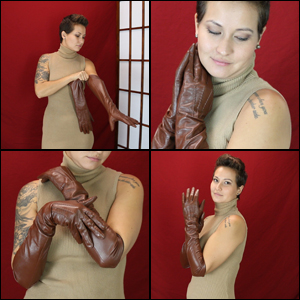 Jane Modeling Long Brown Leather Gloves